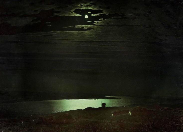 лунная ночь на реке Днепр на картине Куинджи