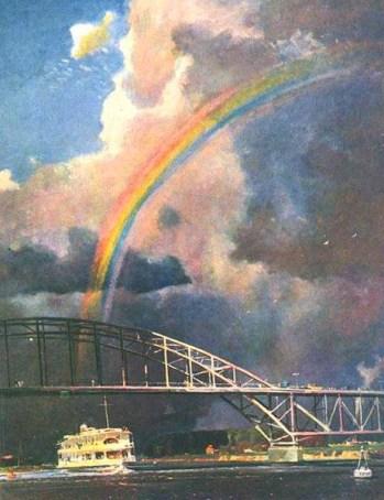 радуга над рекой на картине Нисского