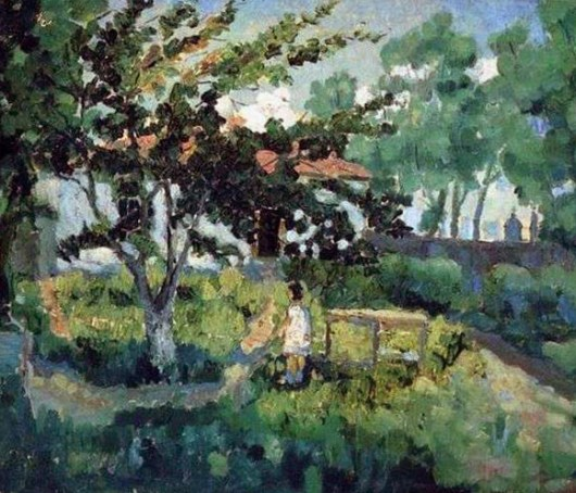 летний пейзаж в сельской местности на картине Малевича