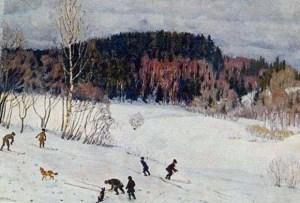 лыжники спускаются с горы на картине Юона
