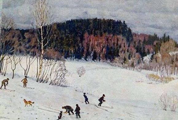 Зимний пейзаж с лыжниками на картине Юона
