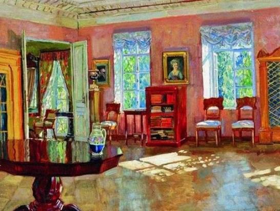 богатый интерьер библиотеки помещичьего дома на картине С.Ю.Жуковского