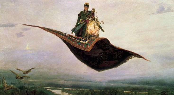 летящий над землей ковер-самолет с Иван-царевичем и Жар-птицей на картине Васнецова