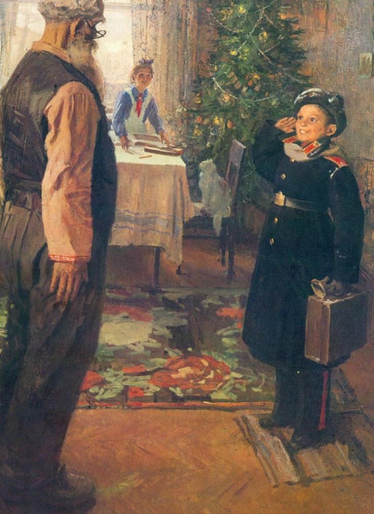 суворовец прибыл на каникулы домой на картине Решетникова