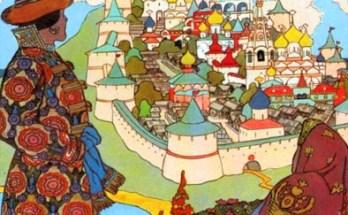 Гвидон и царица любуются сказочным городом на картине И.Я.Билибина