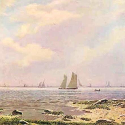 море с парусниками на картине Дубовского