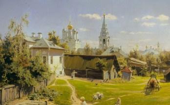 московский дворик летним днем на картине Поленова