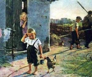 малыша отец и брат не взяли на рыбалку на картине Успенской-Кологривовой