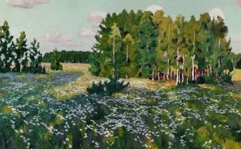 цветистый луг и березы на картине Рылова