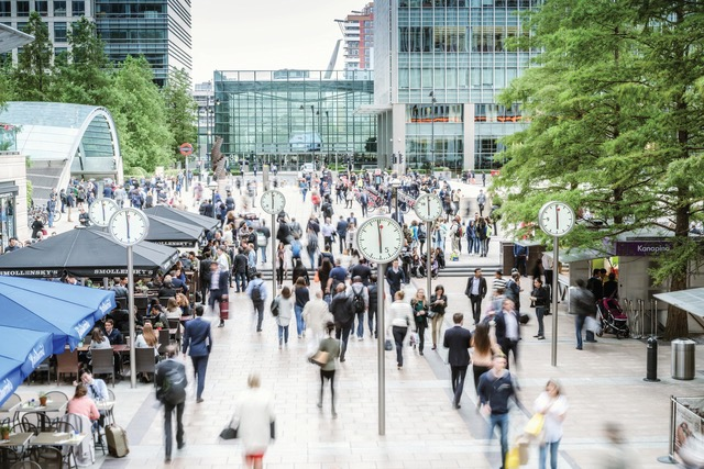Crowd of People , Canary Wharf in London, UK