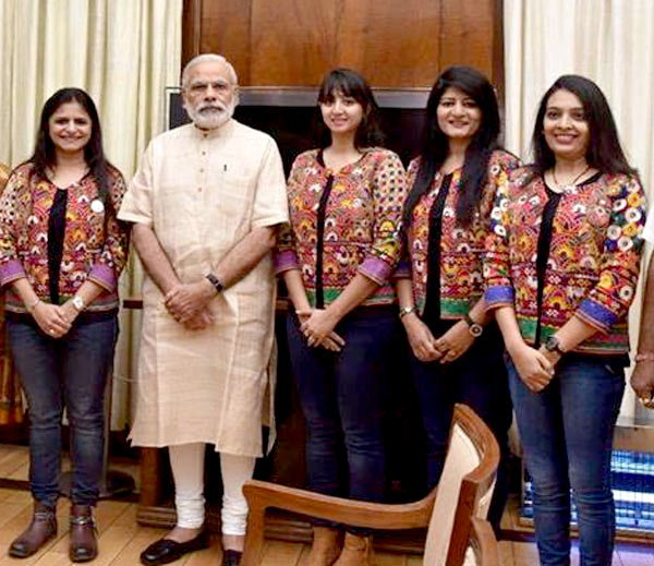 Narendra Modi Meets Biking Queens After Their Record-Breaking Journey