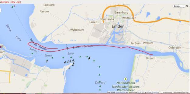 Track SY mumpes. Aufgrund Flaute wurde der die Strecke verkürzt: Zeitnehmung an Tonne 48, statt wir vorgesehen Rundung Tonne 38 und Retour.
