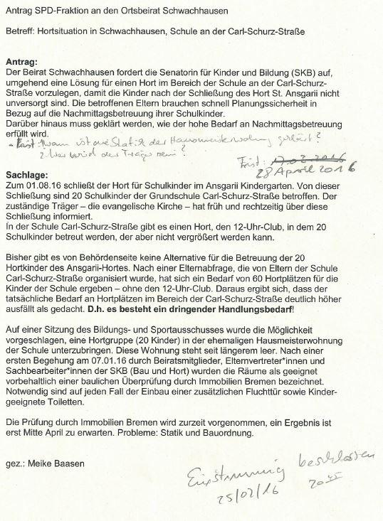 Antrag SPD Schwachhausen Hortsituation Beschluss 250216