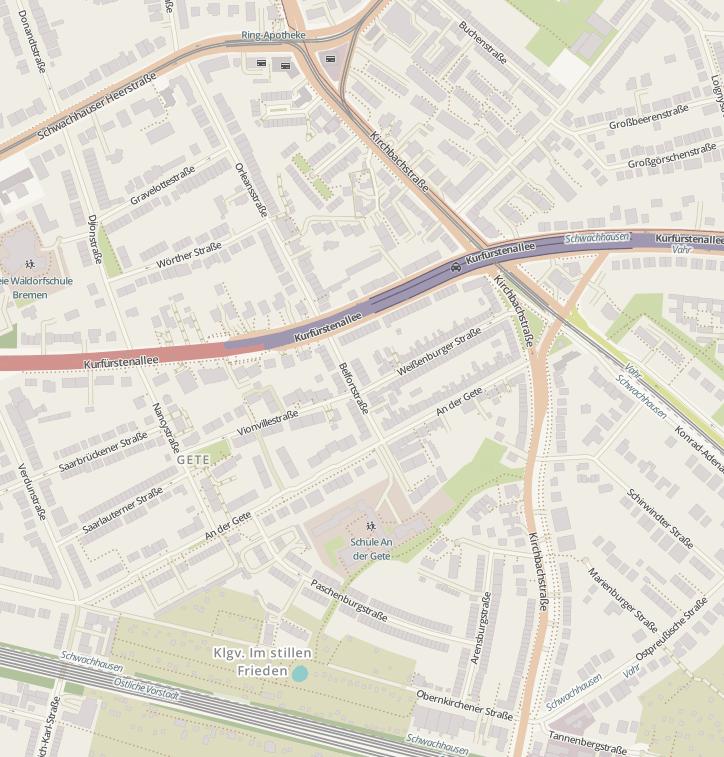 Die Kirchbachstrasse in Bremen Schwachhausen ist eine wichtige Strasse im Beiratsgebiet