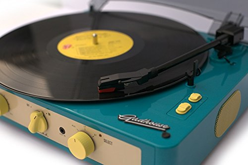 record player, vintage, green, turntable, father's day gift ideas, Gadhouse Brad Vintage Record Player 3-speed Turntable Built in Bluetooth, Stereo Speakers, Headphone Jack, Aux Input for Smartphone,