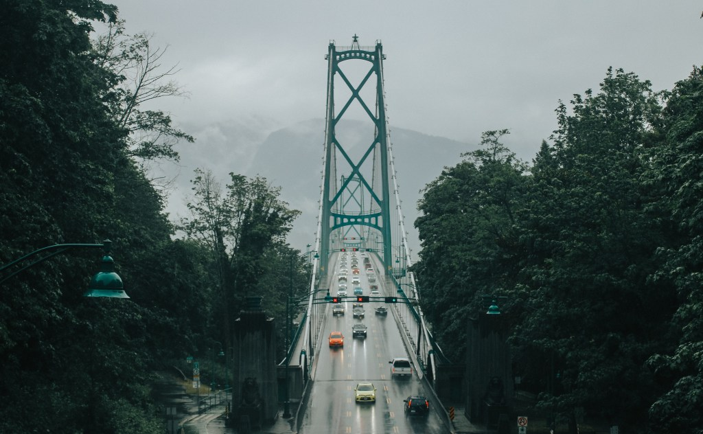 vancouver in the rain, lion's gate bridge, wallpaper, vancouver, bc,