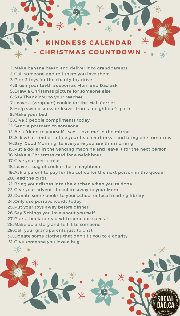 list of good deeds, kindness calendar, advent calendar ideas, good deeds calendar, list of good deeds for kids, kindergarten good deeds, ideas to help people, christmas, advent calendar messages for kids, non-chocolate advent calendars, dad blog, socialdad, parenting blog,