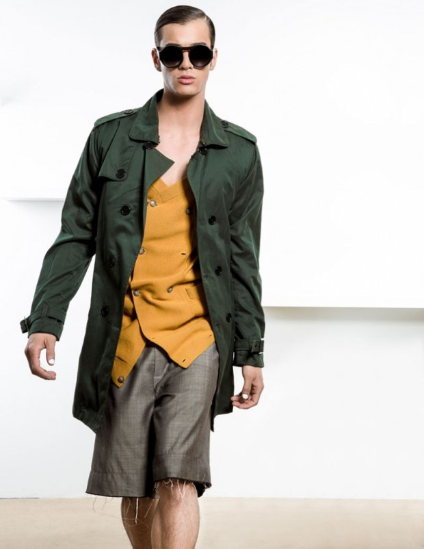 cardigan by Francisco Van Benthum, shorts by Francisco Van Benthum, trench coat by Jacob Holston, sunglasses vintage, shoes by Dr. Martens
