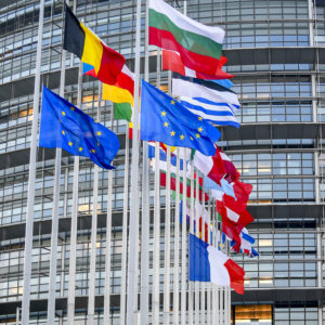 EU and French flags at half-mast at the European Parliament in Strasbourg as a tribute to the victims of the terrorist attack in Strasbourg of 11/12/2018
