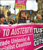 TUSC banner on TUC demo against austerity, photo Iain Dalton