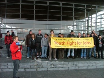 Campaigners against youth unemployment from all over Wales converged on the Welsh Assembly on Wednesday to highlight the scourge of youth unemployment in Wales. , photo Sarah Mayo