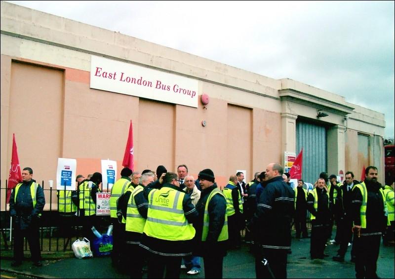London striking bus drivers