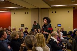 Lia Tarachansky speaks to a sold-out crowd after her film, 'On the Side of the Road.' Photo by Colette-Yasi Naraghi