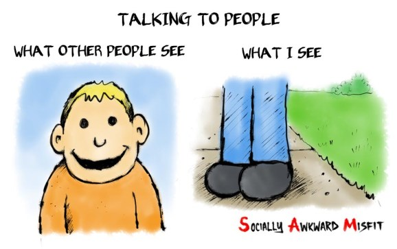 introvert talking people cartoon