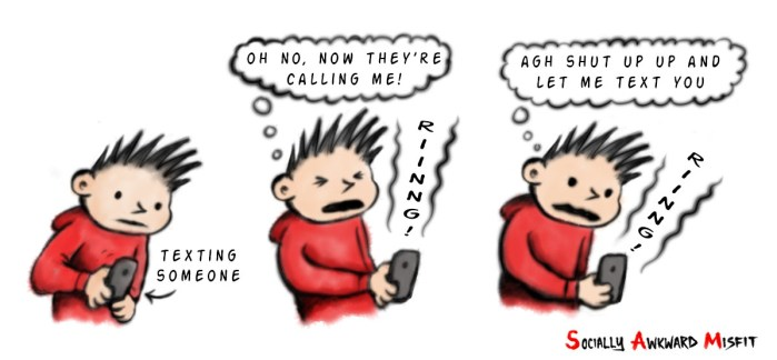 texting cartoon introvert comic strip