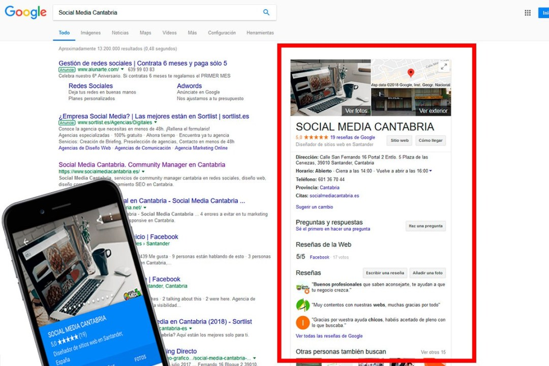 Posicionamiento SEO Local - Social Media Cantabria