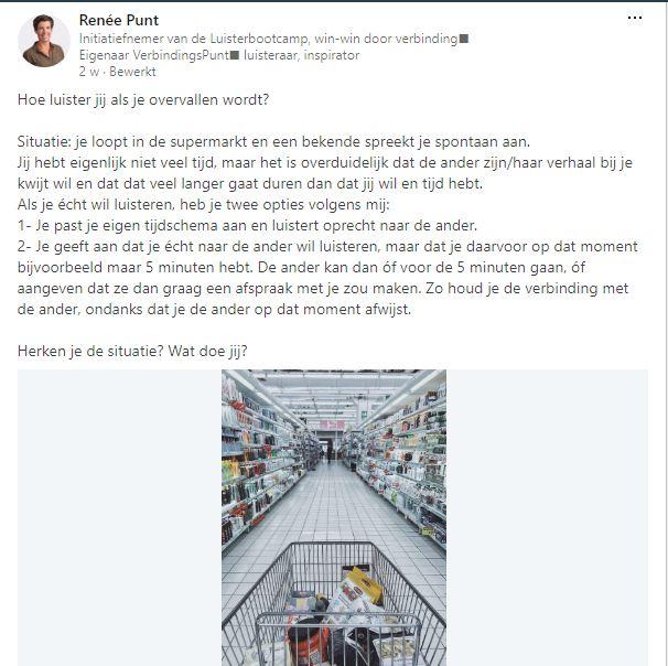 LinkedIn bericht Renee Punt