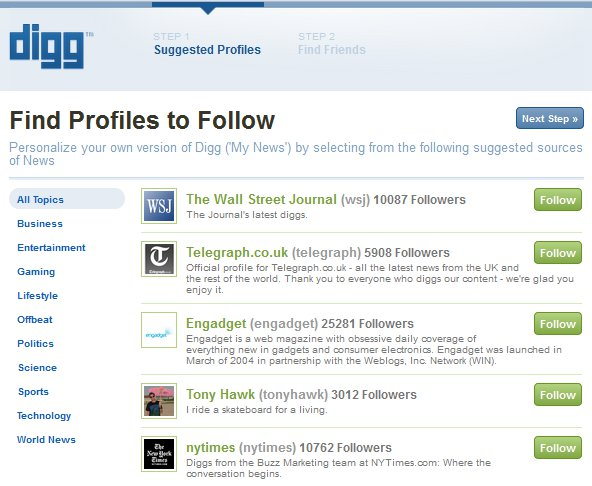 New Digg Login - Step 1 - Find Profiles