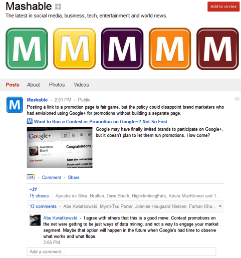 Google+ Pages - Mashable
