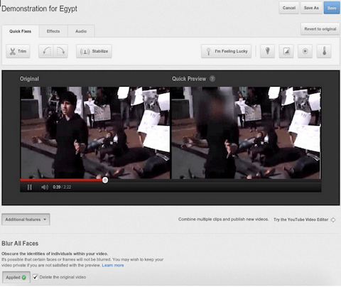 Youtube Gesichtsunschärfe-Tool
