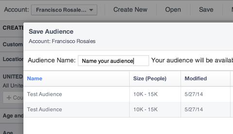 Benennen einer benutzerdefinierten Facebook-Zielgruppe