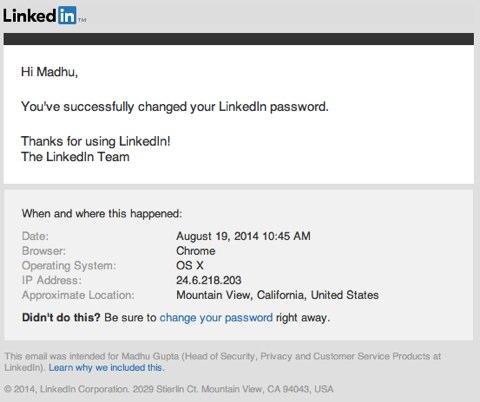 Änderungen des Linkedin-Sicherheitspassworts
