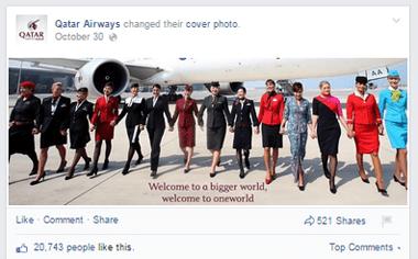 qatar airways facbook cover image post