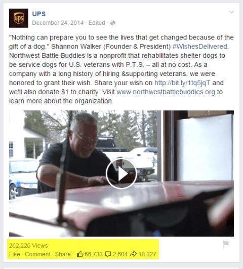 ups Videopost auf Facebook