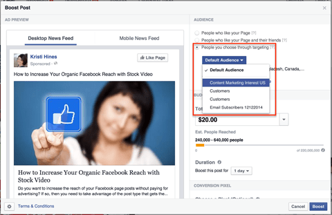 choosing a facebook saved audience