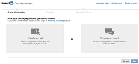 linkedin sponsored updates from ads interface