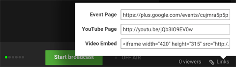 Bild des unteren Bedienfelds von Google + Hangouts