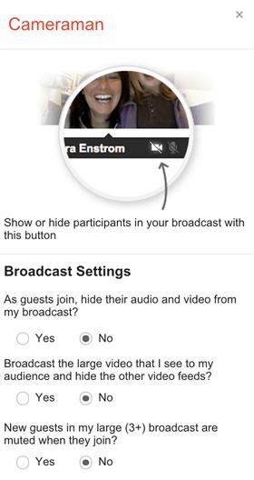 Google + Hangouts Kameramann Optionen
