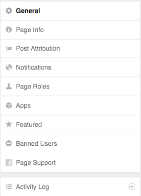 facebook pages settings menu