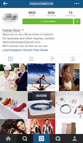 instagram profile with contact info