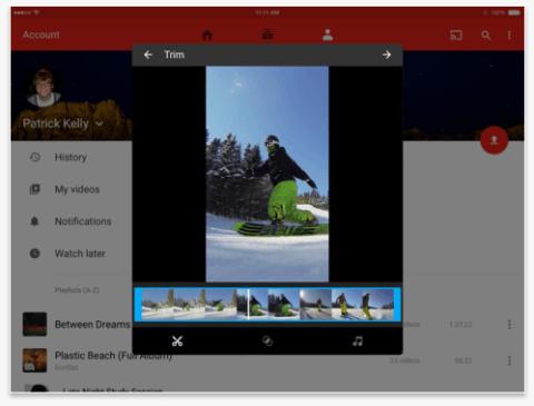 YouTube-App für iOS-Bearbeitungstools
