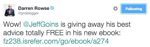 darren rowse tweet promoting jeff goins ebook