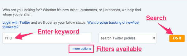 search keywords in twitter profiles