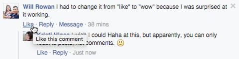 Facebook-Kommentar ohne Reaktionen