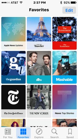 apple news favorites