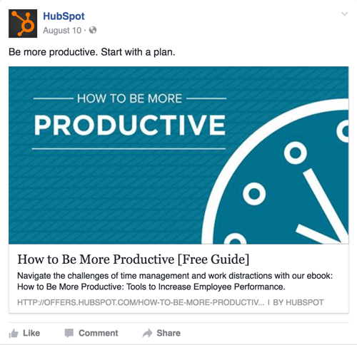 hubspot facebook post